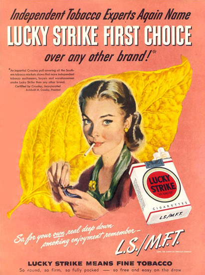 Lucky Strike Fine Tabacco Girl 1948 Cigarettes | Vintage Ad and Cover Art 1891-1970
