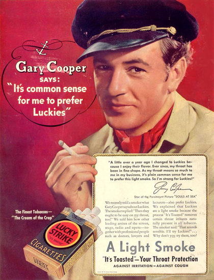 Lucky Strike Gary Cooper Souls At Sea 1937 | Sex Appeal Vintage Ads and Covers 1891-1970
