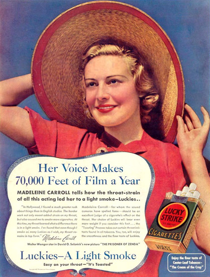 Lucky Strike Girl Sun Hat 1937 Cigarettes | Sex Appeal Vintage Ads and Covers 1891-1970