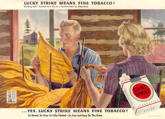 Lucky Strike Grading Leaf By Peter Hurd 1943 | Vintage Ad and Cover Art 1891-1970