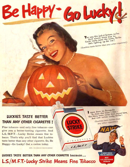 Lucky Strike Halloween Girl 1951 Cigarettes | Vintage Ad and Cover Art 1891-1970