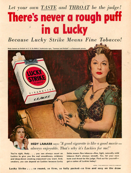 Lucky Strike Hedy Lamarr Cigarettes | Vintage Ad and Cover Art 1891-1970