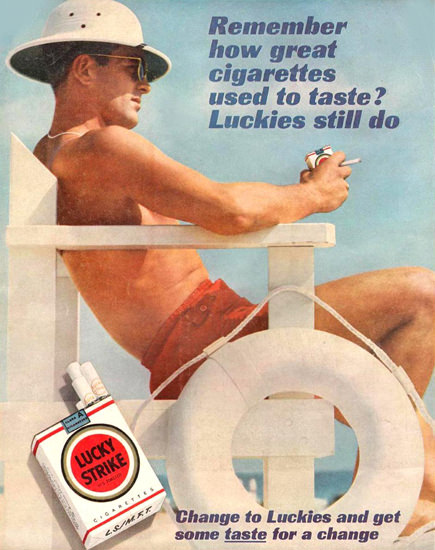 Lucky Strike Lifeguard On Duty 1961 Cigarettes | Sex Appeal Vintage Ads and Covers 1891-1970