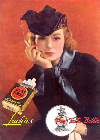 Lucky Strike Luckies Girl 1935 Cigarettes | Sex Appeal Vintage Ads and Covers 1891-1970