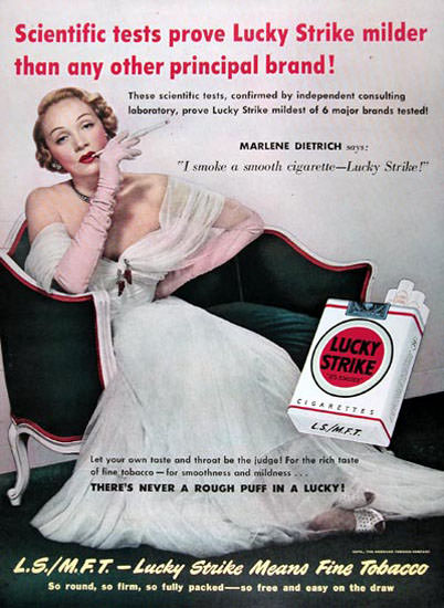 Lucky Strike Marlene Dietrich 1950 Cigarettes | Sex Appeal Vintage Ads and Covers 1891-1970