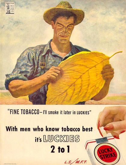 Lucky Strike Men Who Know Tabacco Best 1944 | Vintage Ad and Cover Art 1891-1970