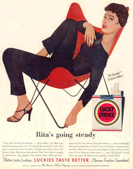 Lucky Strike Rita Gam Is Going Steady 1955 | Sex Appeal Vintage Ads and Covers 1891-1970