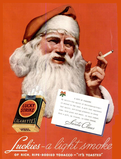 Lucky Strike Santa Claus Cigarettes | Vintage Ad and Cover Art 1891-1970