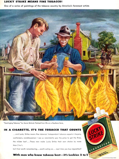 Lucky Strike Unstringing Tabacco A Bohrod 1942 | Vintage Ad and Cover Art 1891-1970