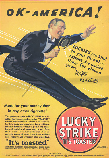 Lucky Strike Walter Winchell OK America 1932 | Sex Appeal Vintage Ads and Covers 1891-1970