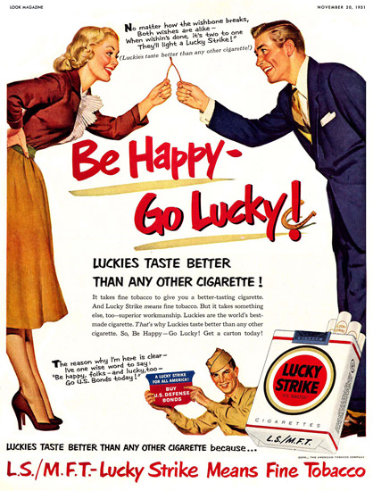 Lucky Strike Wishbone Be Happy Go Lucky 1951   Vintage Ad and Cover Art 1891-1970