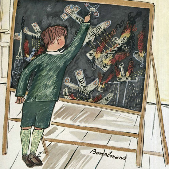 Ludwig Bemelmans The New Yorker 1942_03_21 Copyright crop | Best of Vintage Cover Art 1900-1970