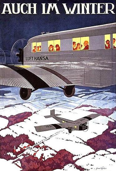 Lufthansa  Auch Im Winter Hans Vogel 1920s | Vintage Travel Posters 1891-1970
