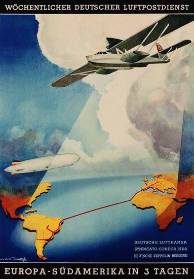 Lufthansa Deutscher Luftpostdienst 1937 | Vintage Travel Posters 1891-1970