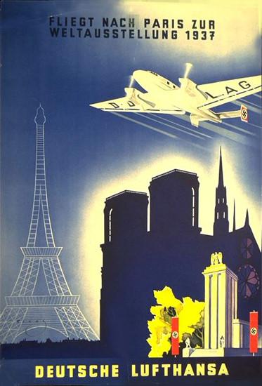 Lufthansa Fliegt Nach Paris Weltausstellung 1937 | Vintage Travel Posters 1891-1970