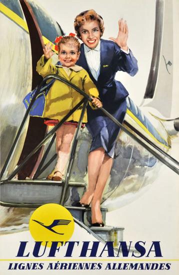 Lufthansa Lignes Aeriennes Allemandes 1955 | Vintage Travel Posters 1891-1970