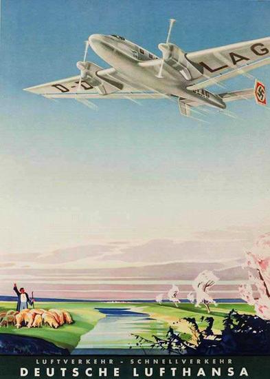 Lufthansa Luftverkehr Schnellverkehr 1938 | Vintage Travel Posters 1891-1970