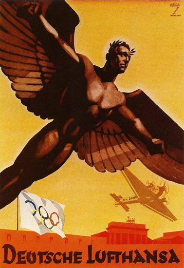 Lufthansa Olympic Games 1936 Berlin Germany | Vintage Travel Posters 1891-1970