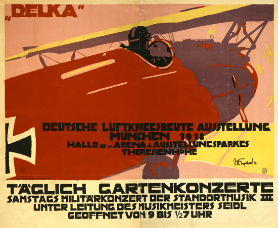 Luftkriegsbeute Ausstellung Muenchen 1918 | Vintage War Propaganda Posters 1891-1970