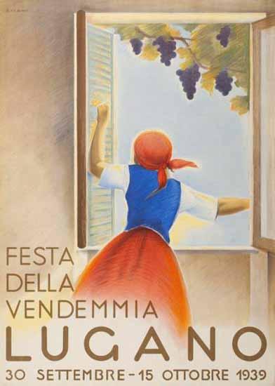 Lugano Festa Della Vendemmia Switzerland 1939 | Vintage Travel Posters 1891-1970