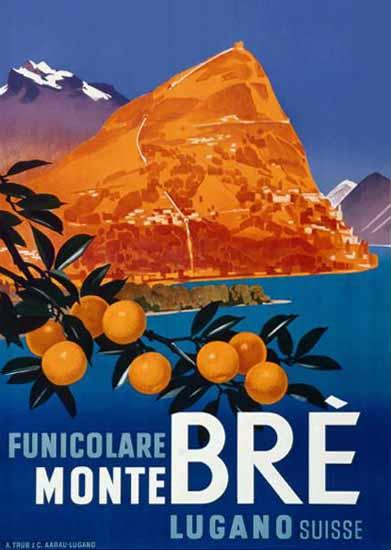 Lugano Funicolare Monte Bre Suisse Switzerland 1930 | Vintage Travel Posters 1891-1970