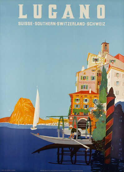 Lugano Suisse Southern Switzerland 1952 | Vintage Travel Posters 1891-1970