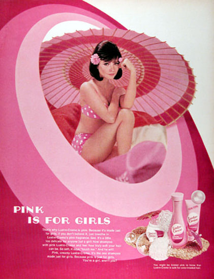 Lustre Cream 1968 Pink Is For Girls | Sex Appeal Vintage Ads and Covers 1891-1970