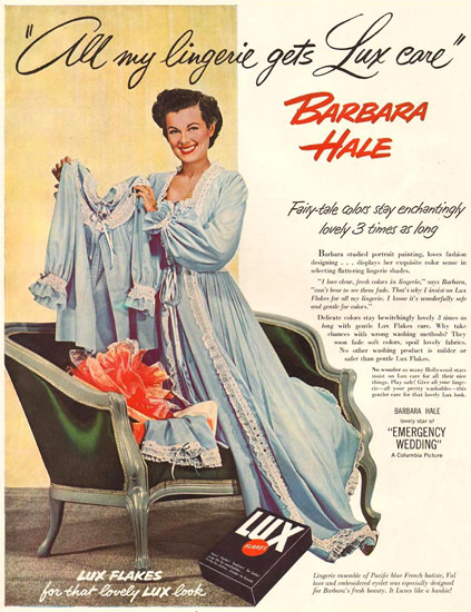 Lux Barbara Hale Emergency Wedding 1950 | Sex Appeal Vintage Ads and Covers 1891-1970