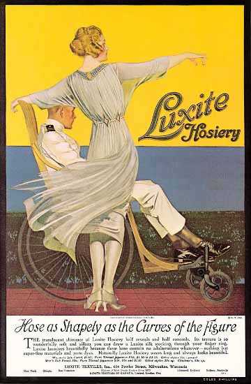 Luxite Hosiery Sharply As The Curves 1919 Coles Phillips | Sex Appeal Vintage Ads and Covers 1891-1970