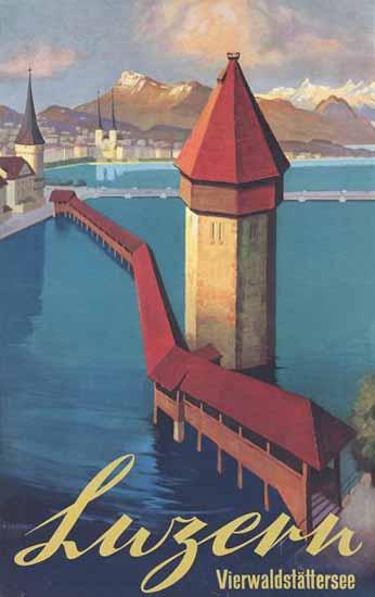 Luzern Vierwaldstättersee Lake Lucerne Switzerland 1936 | Vintage Travel Posters 1891-1970