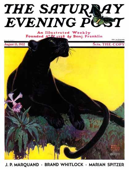 Lynn Bogue Hunt Saturday Evening Post Black Panther 1932_08_13 | The Saturday Evening Post Graphic Art Covers 1931-1969