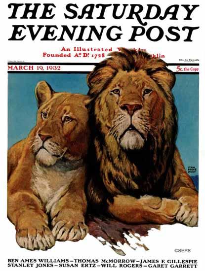 Lynn Bogue Hunt Saturday Evening Post Lion Couple 1932_03_19 | The Saturday Evening Post Graphic Art Covers 1931-1969
