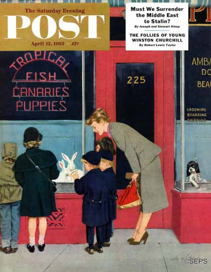 M Coburn Whitmore Saturday Evening Post Bunnies for Sale 1952_04_12 | The Saturday Evening Post Graphic Art Covers 1931-1969