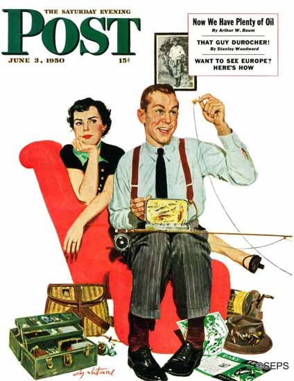 M Coburn Whitmore Saturday Evening Post Fishing Season 1950_06_03   The Saturday Evening Post Graphic Art Covers 1931-1969