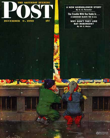 M Coburn Whitmore Saturday Evening Post Toy Store 1950_12_09 | The Saturday Evening Post Graphic Art Covers 1931-1969