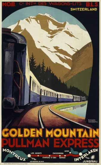 MOB Golden Mountain Express Montreux Switzerland 1931 | Vintage Travel Posters 1891-1970