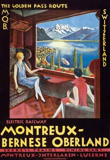 MOB Golden Pass Route Montreux Switzerland 1922 | Vintage Travel Posters 1891-1970