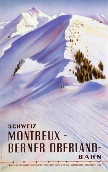 MOB Montreux Berner Oberland Bahn Switzerland 1940 | Vintage Travel Posters 1891-1970