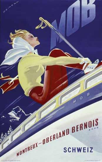 MOB Montreux Oberland Bernois Switzerland 1946 | Vintage Travel Posters 1891-1970