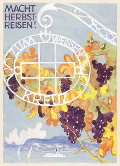 Macht Herbstreisen Zum Weissen Kreuz Switzerland 1942 | Vintage Travel Posters 1891-1970