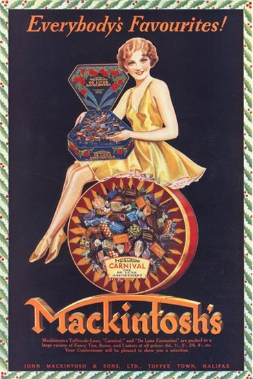 Mackintoshs Carnival Candies Toffee Halifax | Sex Appeal Vintage Ads and Covers 1891-1970