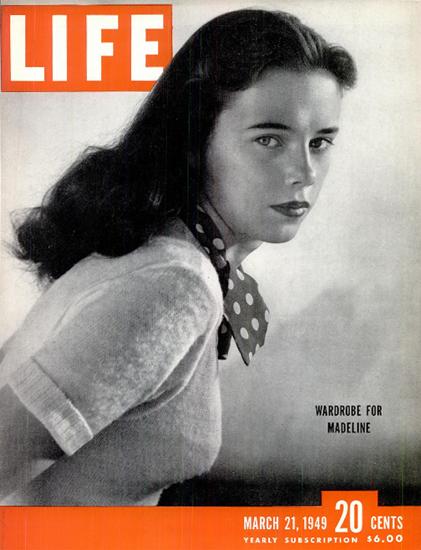 Madeline Balcar 21 Mar 1949 Copyright Life Magazine | Life Magazine BW Photo Covers 1936-1970