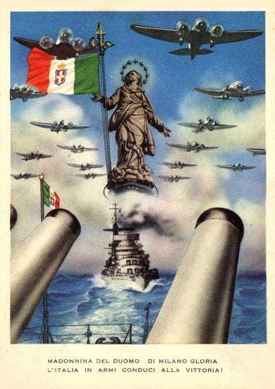 Madonnina Del Duomo Di Milano Gloria L Italia | Vintage War Propaganda Posters 1891-1970