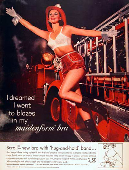 Maidenform Bra Lingerie Firefighters Department | Sex Appeal Vintage Ads and Covers 1891-1970