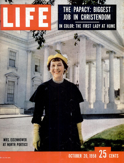 Mamie Eisenhower at north Portico 20 Oct 1958 Copyright Life Magazine | Life Magazine Color Photo Covers 1937-1970