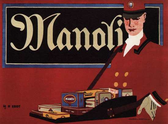 Manoli Cigarettes Hawkers Tray Vendors Tray Germany Zigaretten Deutschland | Vintage Ad and Cover Art 1891-1970