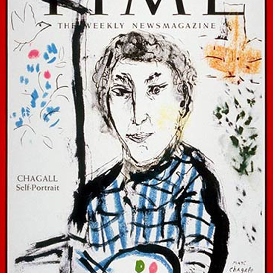 Marc Chagall Self-Portrait Time Magazine 1965-07 crop | Best of Vintage Cover Art 1900-1970