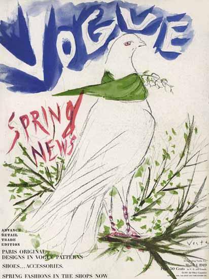 Marcel Vertes Vogue Cover 1949-03-01 Copyright | Vogue Magazine Graphic Art Covers 1902-1958
