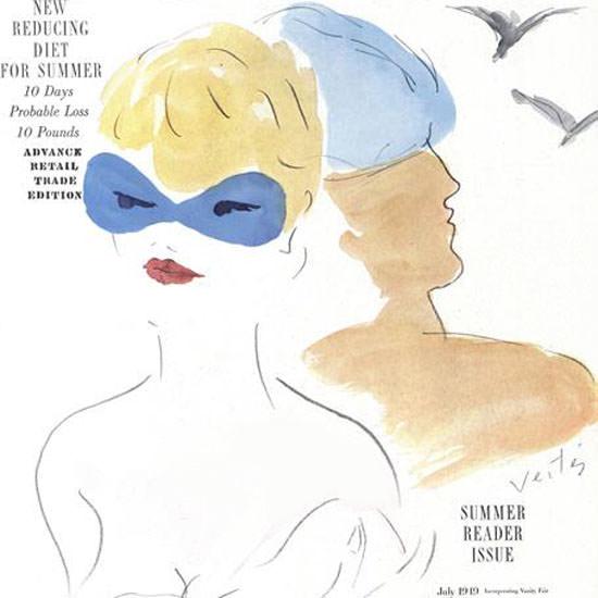 Marcel Vertes Vogue Cover 1949-07-01 Copyright crop | Best of Vintage Cover Art 1900-1970