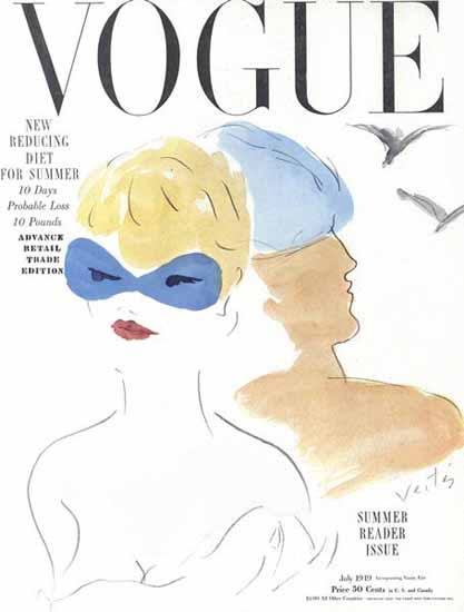 Marcel Vertes Vogue Cover 1949-07-01 Copyright | Vogue Magazine Graphic Art Covers 1902-1958